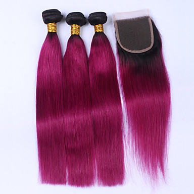 Brazilian Hair Straight Human Hair Hair Weft with Closure Ombre Human Hair Weaves Human Hair Extensions