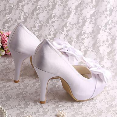 de ouvert Blanc Mariage Bout Chaussures Printemps Noeud Satin anw1CtCTq