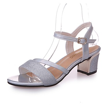 Damen Sandalen Fersenriemen PU Sommer Normal Walking Niedriger Absatz Schwarz Silber 5 - 7 cm
