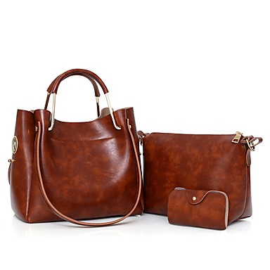 Women's Bags PU(Polyurethane) Bag Set 3 Pcs Purse Set Gray / Wine / Brown