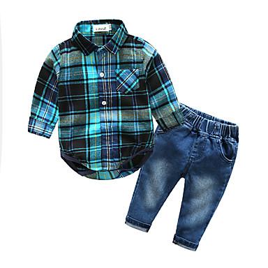 Boys' Plaid Clothing Set, Cotton Spring Fall Long Sleeves Check Blue