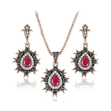 Női Szintetikus rubin, Szintetikus smaragd Ékszer szett Függők, Nyaklánc medálok - Smaragd Piros, Zöld / Bohém / Luxus