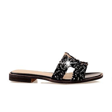 Damen Schuhe PU Sommer Komfort Sandalen Blockabsatz Für Normal Weiß Schwarz