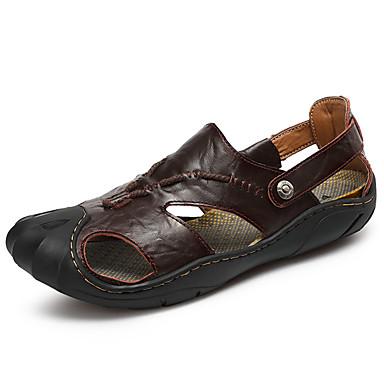 Herrn Schuhe Leder Sommer Komfort Sandalen Walking Niete für Normal Gelb Dunkel Braun
