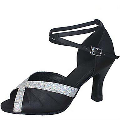 Női Latin cipők Selyem Szandál Teljesítmény Fodrozott Kubai sarok Személyre szabható Dance Shoes Bíbor / Barna / Piros