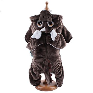 Chien Costume Pulls à capuche Combinaison-pantalon Vêtements pour Chien Animal Café Brun claire Velours côtelé Costume Pour les animaux