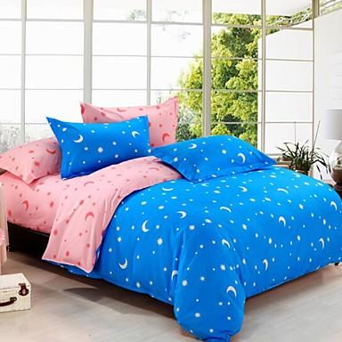 Romantisch 4 Stück Baumwolle Druck Baumwolle 4-teilig (1 Bettbezug, 1 Bettlaken, 2 Kissenbezüge)