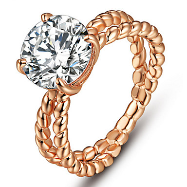 Damen Eheringe Bandringe Kristall Personalisiert Luxus Klassisch Grundlegend Elegant Modisch nette Art Krystall Kupfer Kreisförmig Schmuck