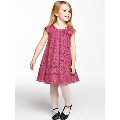 Χαμηλού Κόστους Φορέματα για κορίτσια-Παιδιά Κοριτσίστικα Γλυκός Πάρτι Καθημερινά Αργίες Μονόχρωμο Φλοράλ Δαντέλα Φιόγκος Αμάνικο Βαμβάκι Φόρεμα Ρουμπίνι