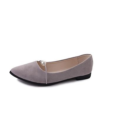 Damen Schuhe Lackleder Frühling Herbst Komfort Leuchtende Sohlen Flache Schuhe Flacher Absatz Spitze Zehe Imitationsperle für Normal Kleid