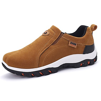 Men's PU(Polyurethane) Spring / Fall Comfort Loafers & Slip-Ons Black / Dark Grey / Khaki