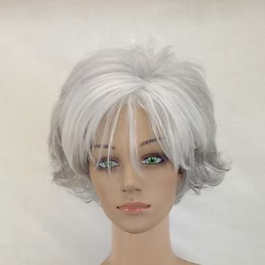 Szintetikus parókák Göndör Bretonnal Bangsokkal Sűrűség Sapka nélküli Szürke Kék Természetes paróka Rövid Szintetikus haj