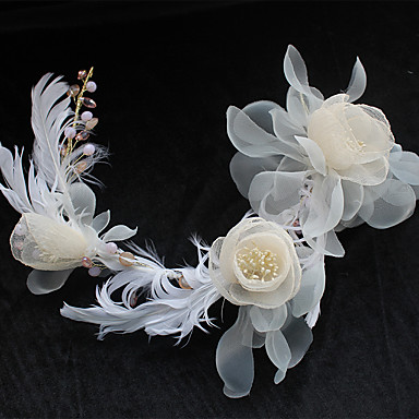 Chiffon Spitze Feder Seide Netz Stirnbänder Blumen Kopfschmuck
