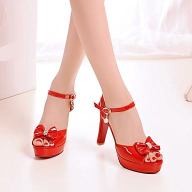 Damen Schuhe PU Frühling Komfort High Heels Stöckelabsatz Runde Zehe Für Normal Weiß Schwarz Rot