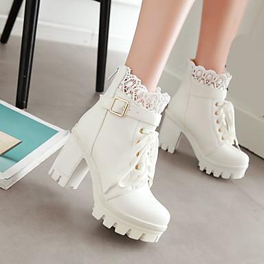 Damen Schuhe PU Winter Komfort Stiefel Blockabsatz Plattform Runde Zehe für Normal Weiß Schwarz
