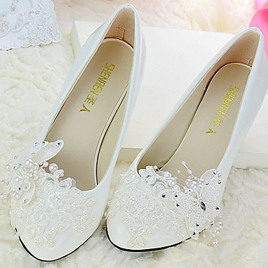 a0a78bde029 Women s Lace   PU(Polyurethane) Spring   Fall Slingback Wedding Shoes Cone  Heel Pointed Toe   Round Toe Rhinestone   Bowknot   Beading White   Party    ...
