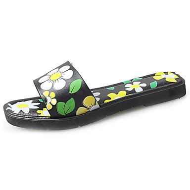 Damen Schuhe PU Frühling Sommer Komfort Leuchtende Sohlen Sandalen Flacher Absatz Offene Spitze Blume für Normal Rot Grün