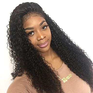 Emberi haj Csipke eleje Paróka Kinky Curly 130% Sűrűség 100% kézi csomózású Afro-amerikai paróka Természetes hajszálvonal Közepes Hosszú