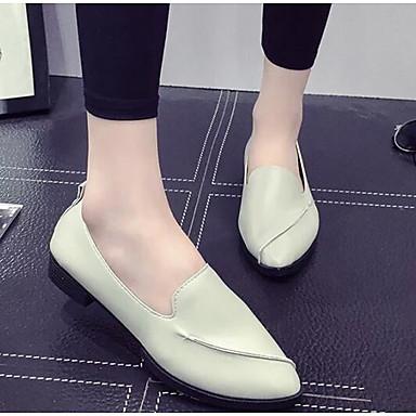 Damen Schuhe PU Frühling Herbst Komfort Loafers & Slip-Ons für Normal Weiß Schwarz Hellgrau