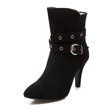 Women's Shoes Leatherette Spring / Winter Fashion Boots / Bootie Boots Square Toe Booties / Ankle Boots Buckle Black / Beige / Gray