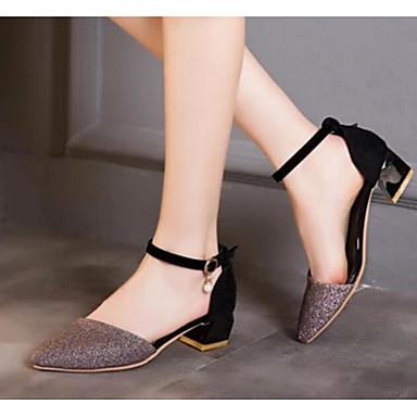 Damen Schuhe PU Frühling Komfort High Heels Für Normal Gold Purpur Rot