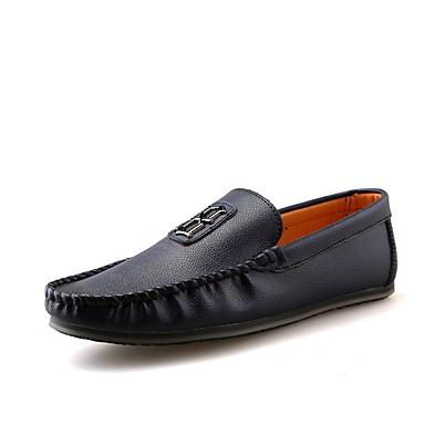 Férfi cipő PU Tavasz Ősz Búvárcipő Papucsok & Balerinacipők mert Hétköznapi Fekete Barna Kék