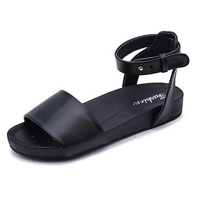 Damen Sandalen Komfort Sommer PU Normal Schwarz Beige Blau 5 - 7 cm