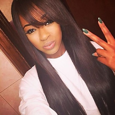 Human Hair Glueless Lace Front / Lace Front Wig Straight Wig With Bangs 130% Natural Hairline / African American Wig / 100% Virgin Women's 10 inch / 12 inch / 14 inch / Brazilian / 100% Hand Tied