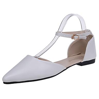 Damen Schuhe PU Sommer Komfort Flache Schuhe Walking Flacher Absatz Spitze Zehe Kombination für Normal Weiß Schwarz Rot