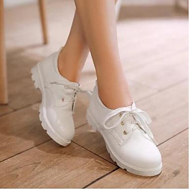 Damen Schuhe PU Frühling Komfort Sneakers Für Normal Weiß Schwarz Rosa