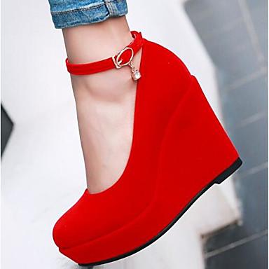 Damen Schuhe Nubukleder / PU Frühling Komfort High Heels Schwarz / Rot