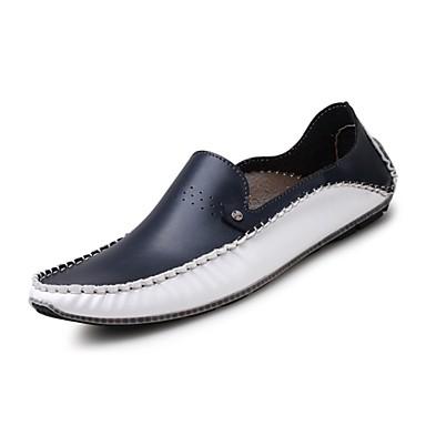 Herrn Schuhe Leder Sommer / Herbst Komfort / Tauchschuhe Loafers & Slip-Ons Walking Weiß / Blau