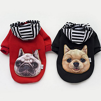 Dog Hoodie / Sweatshirt Dog Clothes Stripe Black / Red Cotton Costume For Pets Men's / Women's Casual / Daily