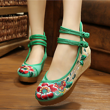 Damen Schuhe Leinwand Frühling Sommer Komfort Flache Schuhe Keilabsatz Für Normal Schwarz Grün