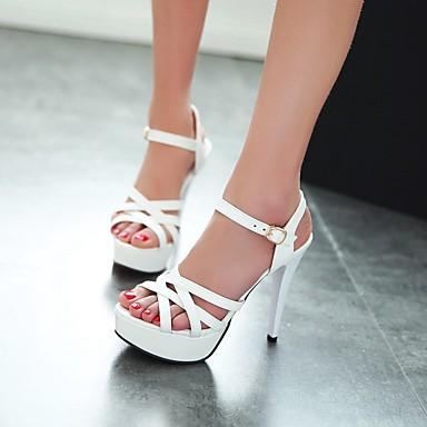 Damen Schuhe PU Sommer Komfort High Heels Stöckelabsatz Peep Toe Für Normal Weiß Rot Rosa