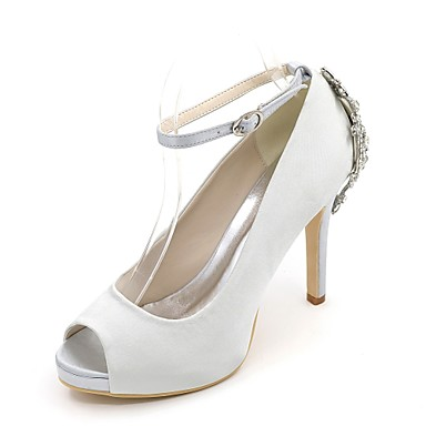 Women s Shoes Satin Spring   Summer Basic Pump Wedding Shoes Stiletto Heel  Peep Toe Rhinestone Blue   Champagne   Ivory   Party   Evening ab3982716fc0