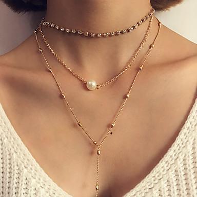 Damen Layered Ketten - Personalisiert, Luxus, Klassisch Gold, Silber Modische Halsketten Für Weihnachten, Party, Geburtstag