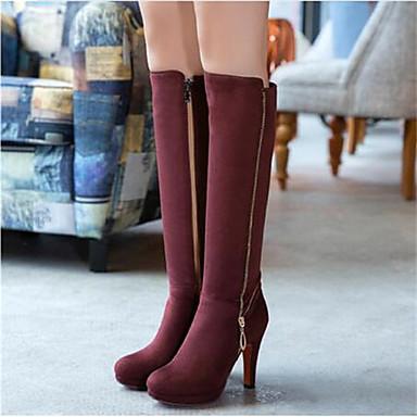 Damen Schuhe PU Winter Komfort Stiefel für Normal Schwarz Braun Rot
