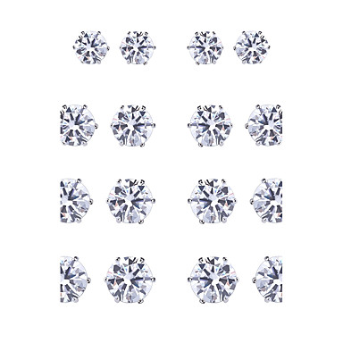 Women's AAA Cubic Zirconia Jewelry Set - Sterling Silver, Zircon Natural, Gothic, Fashion Include Stud Earrings White / Black For Party / Graduation / Stage