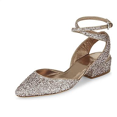 Damen Schuhe Echtes Leder Herbst Winter Komfort Sandalen Spitze Zehe Kristall Für Normal Silber