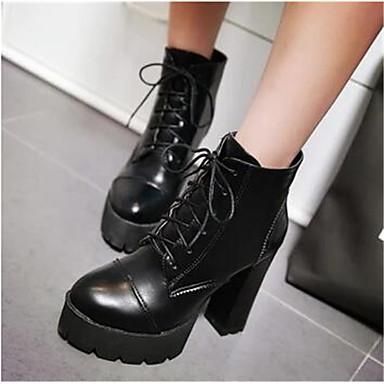 Damen Schuhe PU Herbst Winter Komfort Stiefel Für Normal Weiß Schwarz Rot