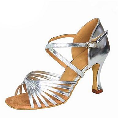 Női Latin cipők Selyem / Műbőr Szandál Csat Kubai sarok Személyre szabható Dance Shoes Fekete / Ezüst / Barna / Teljesítmény / Bőr
