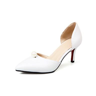 Damen Schuhe Künstliche Mikrofaser Polyurethan Frühling Sommer Pumps High Heels Stöckelabsatz Spitze Zehe Imitationsperle Für Hochzeit