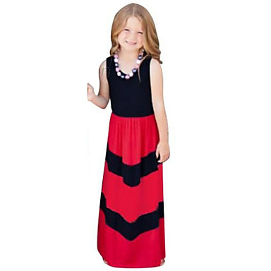 Toddler Girls' Stripes Birthday / Daily / Holiday Striped Sleeveless Cotton Dress Black 2-3 Years(100cm) / Going out