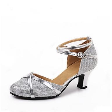 Női Modern cipők Glitter Magassarkúk Illesztés Személyre szabott sarok Személyre szabható Dance Shoes Ezüst / Ezüst / fekete / Fekete és