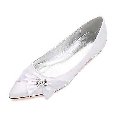 Női Cipő Szatén Tavasz / Nyár Balerinacipő / Kényelmes Esküvői cipők Lapos Erősített lábujj Strasszkő / Csokor / Szatén virág mert Esküvő