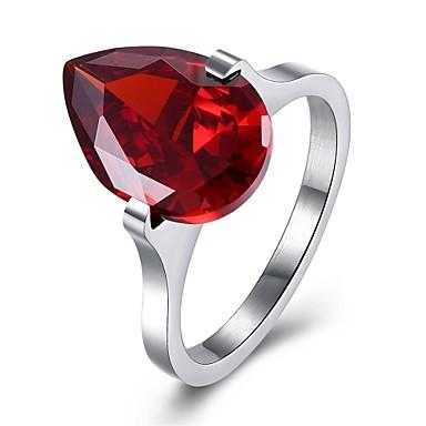 Damen Bandring Kubikzirkonia Gold Silber Rot Leicht Rosa Krystall Edelstahl Zirkon versilbert Kreisförmig Geometrische Form Irregulär