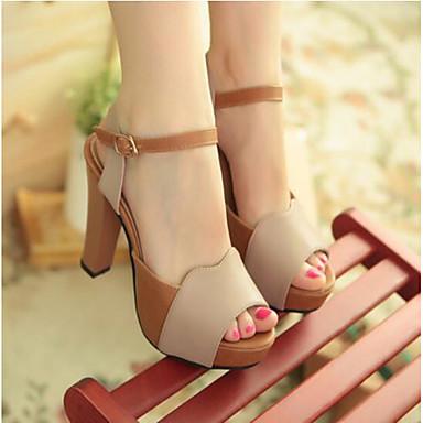 Damen Schuhe PU Sommer Komfort Sandalen Für Normal Beige Grün