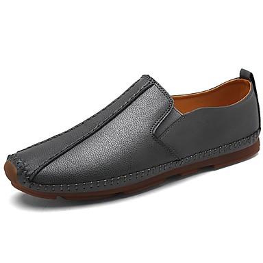 Férfi cipő PU Tavasz / Ősz Kényelmes Papucsok & Balerinacipők Fekete / Szürke / Barna