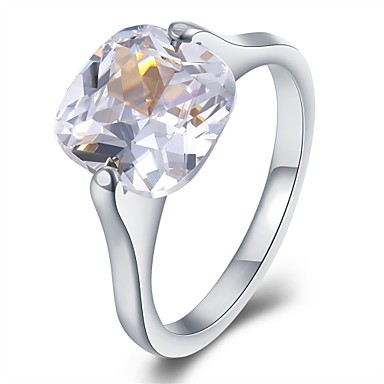 Damen Bandring Kristall Kubikzirkonia Silber Krystall Edelstahl Zirkon versilbert Kreisförmig Geometrische Form Irregulär Personalisiert